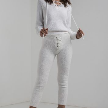 High Rise Soft Thick Toweling Lace Up Pants in White