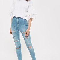 "TALL 36"" Bleach Super Rip Joni Jeans 
