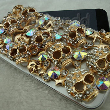 Iphone 5 Case - Luxury Handmade Gold Skull Bling Crytal Rhinestones Hard Case Cover For Iphone 5 5G Halloween gift