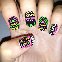 Nail polish strips. TWO SETS of Nail decal wraps. Neon aztec tribal nail art.