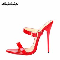LLXF Slippers zapatos mujer Plus:40-47 48 49 50 Summer Stiletto shoes 14cm Thin Heels Sandals woman Classic new arrive Pumps