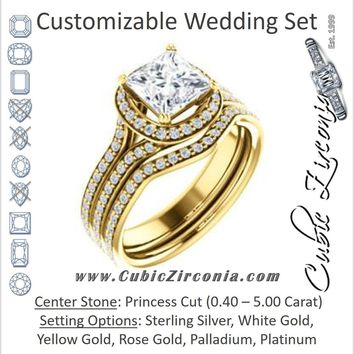 CZ Wedding Set, featuring The Kylee engagement ring (Customizable Cathedral-set Princess Cut Style with Split Pavé Band)