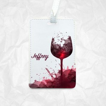 Red Wine Glass Luggage Tag plus your personal name, Bag tag with personal name, Personalized Backpack Tag with Red Wine glass