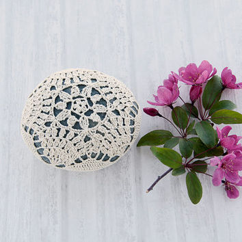 crochet covered rock, lace stone, beach wedding, ring bearer pillow, table decoration, home decor, natural thread, bowl element, paperweight