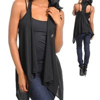 G2 Fashion Square Open Front Crochet Back Extra Long Vest