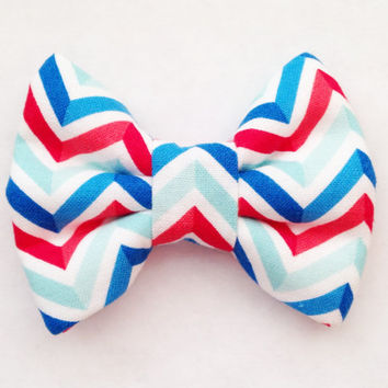 Red, White, & Blue American Striped Handmade Bow (Handmade Bow / Bow Tie / or Headband)