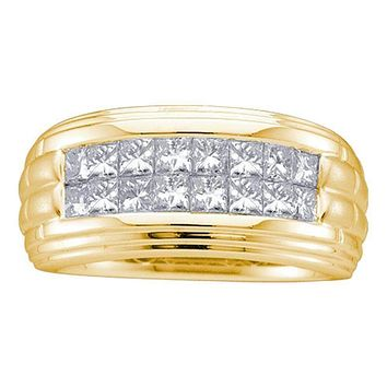 14kt Yellow Gold Men's Princess Diamond Double Row Wedding Band Ring 1/2 Cttw - FREE Shipping (US/CAN)