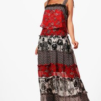 Petite Leah Ruffle Tiered Mixed Print Maxi Dress | Boohoo