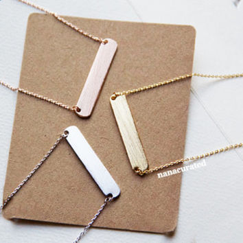 Dainty Original Bar Charm Necklace, Bar Necklace, Dog Tag Charm, Gold Plated Necklace, Bar Necklace,  Minimal Jewelry, Gift Ideas, Holiday