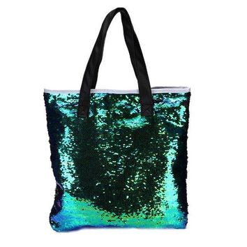 Mermaid Sequins Zippered Tote Bag