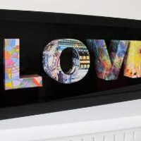 LOVE 3D letters from repurposed magazine pages by littlewhitedog