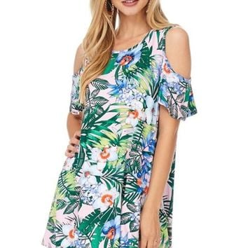 Reborn J Hawaiian Print Cold Shoulder Top - Blush