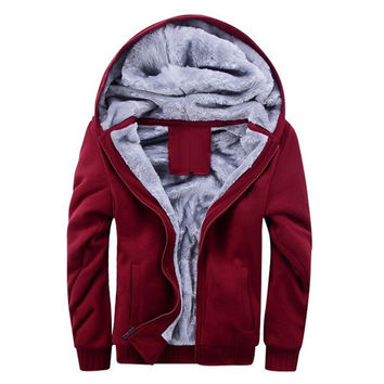 Mens Wool Lined Zip-Up Hoodie