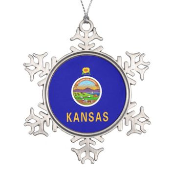 Snowflake Ornament with Kansas Flag