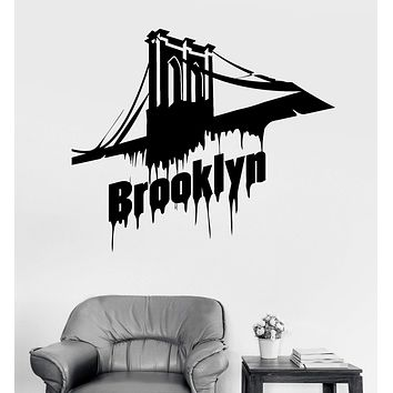 Vinyl Wall Decal Brooklyn Bridge New York Stickers Mural Unique Gift (ig3870)