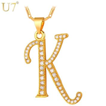 U7 New Fashion Capital Initial Letter K Pendant Charm Gold/Silver Color Zirconia Alphabet Letter Necklace Women P704