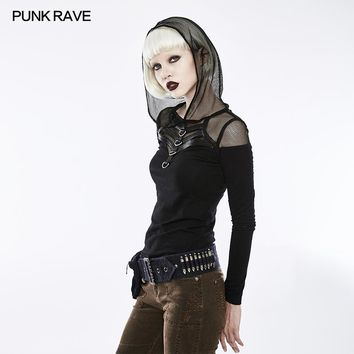 Punk Rave Hooded Long Sleeve T-shirt black sexy women casual rock personality women summer t shirt top WT495
