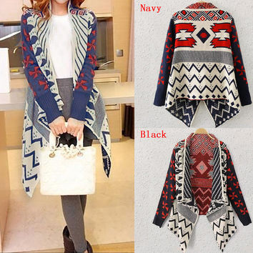 2016 Autumn New Women Geometric Pattern Print Cardigans Casual Long Sleeve Knitted Sweater Irregular Long Coats Poncho Outwear