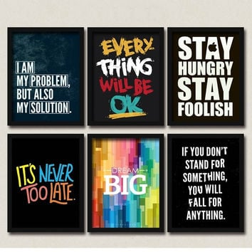 Inspirational Multicolor Life Quotes Canvas Pop Art Posters DIY Retro Vintage Inspirational Quotes Wall Decor Hipster Wall Decor for Coffee Club Cafe Home Kitchen Restaurant Food Kiosk Bakery Bistro Pitshop Diners Freeman