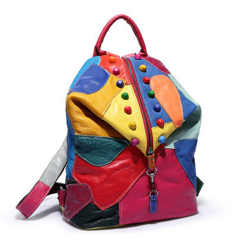 Casual Leather Patchwork Stylish Backpack [6580873479]