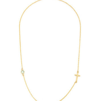 14K Gold Filled Side Cross and Stone Necklace