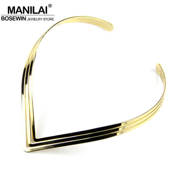 MANILAI North Africa Torques Collar Chokers Fashion 3 Layer Bright Metal Weld Bib Women Necklaces 2016 Statement Jewelry CE2524