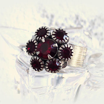 NEW Swarovski crystal ring from the blooming flowers collection, Siam red flower, red ring, 12mm, better than sabika, Valentine's Day