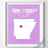 Wedding, Print, Arkansas, Customized, Anniversary, Couple, Personalized, Gift, Map, Custom, Wall Art, Home Decor, Marriage, Love [NO 2]