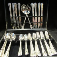 Enchanted Rose Silverplate, Wm. Rogers & Sons , China, by International Silver, Flatware Set, Service for 8, 40  piece set,   (1641)