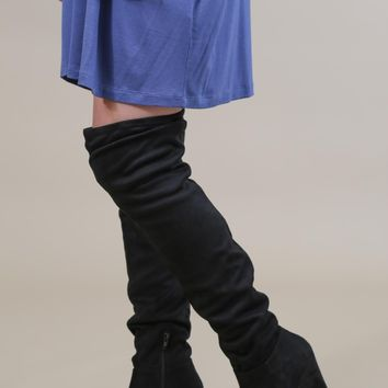 Over The Knee Wedge Boot, Black | Chinese Laundry