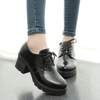 Japanese thick with round head black shoes cosplay uniform shoes joker JK students retro cross bind high heels Alternative Measures