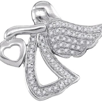 Sterling Silver Womens Round Diamond Angel Heart Faith Pendant 1/8 Cttw
