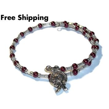 Ladies Hat Maroon Pearl & White Glass Beaded Silver Artisan Crafted Stackables Adjustable  Bracelet (XXS-S)
