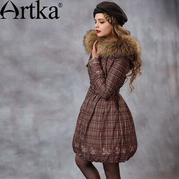 Artka Women's Winter New Plaid Slim Fit Down Coat Vintage Hooded Long Sleeve Cinched Waist Down Coat With Sashes ZK10059D