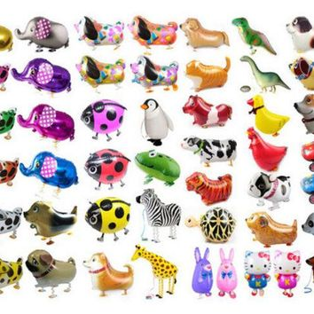 DKF4S Hot Selling Foil Balloon Walking Animal Farm Pet Elephant Cat Frog Duck Dog Cow balon Christmas Gift Children Birthday Party