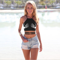 Black Skeleton Hand Print Halter Back Strap Lace Tie Crop Top