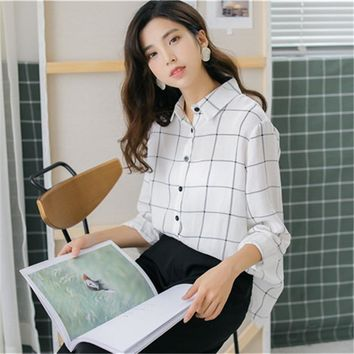 Casual Loose Plaid Shirt Summer Women's Shirts Clothes Kawaii Ulzzang Vintage Female Punk Harajuku Tunic For Women Top