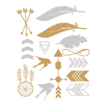 Birds and Feathers Assortment Metallic Tattoo Card