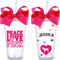 Victoria's Secret Peace Love Pink Acrylic Double Wall Tumbler With Straw