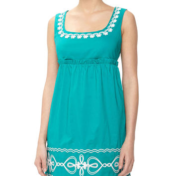 Floral & Heart Rope-Embroidered Dress, Conely Emerald