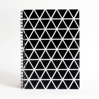 screenprinted A5 black journal recycled paper sketch book craft paper notebook triangle pattern geometric print