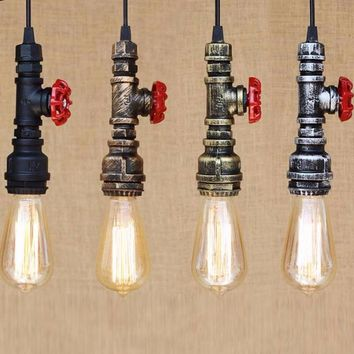 Industrial Iron Water Pipee Steampunk Vintage Pendant Lamp - Free Shipping