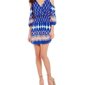 Pink Owl Mixed Print Cold Shoulder Dress | Dillards