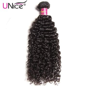UNICE HAIR Malaysian Curly Weave Human Hair 1 Piece Remy Hair Bundles 100% Natural Color Hair Weaving Free Shipping 8-26inch