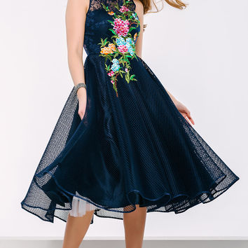 Navy Below The Knee Cocktail Dress 41397
