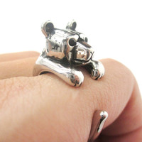 3D Baby Polar Bear Wrapped Around Your Finger Shaped Animal Ring in Shiny Silver | US Size 4 to 8.5