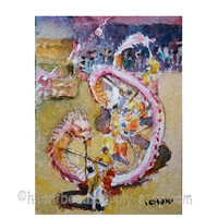 Aceo, Dancing Dragon, peinture, miniature painting, wallart, street art performance, id1320688 original watercolor, not a print, wall art