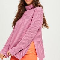 Missguided - Pink Roll Neck Step Hem Knitted Sweater