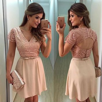 Beige Patchwork Lace Cut Out Bow V-neck Backless Mini Dress