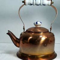 Cute Copper Teapot Vintage Copper Teapot Delft Handle Rustic Copper Kitchen Vintage Tea Kettle French Farmhouse Chic Cottage Chic